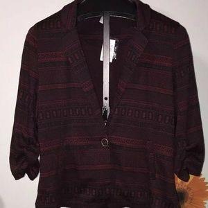Vanity Blazer Jacket Blouse Burgundy Black Size 2X